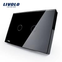 AU US Standard LIVOLO Wall Switch VL C302 82 Black Glass Panel AC 110 250V LED