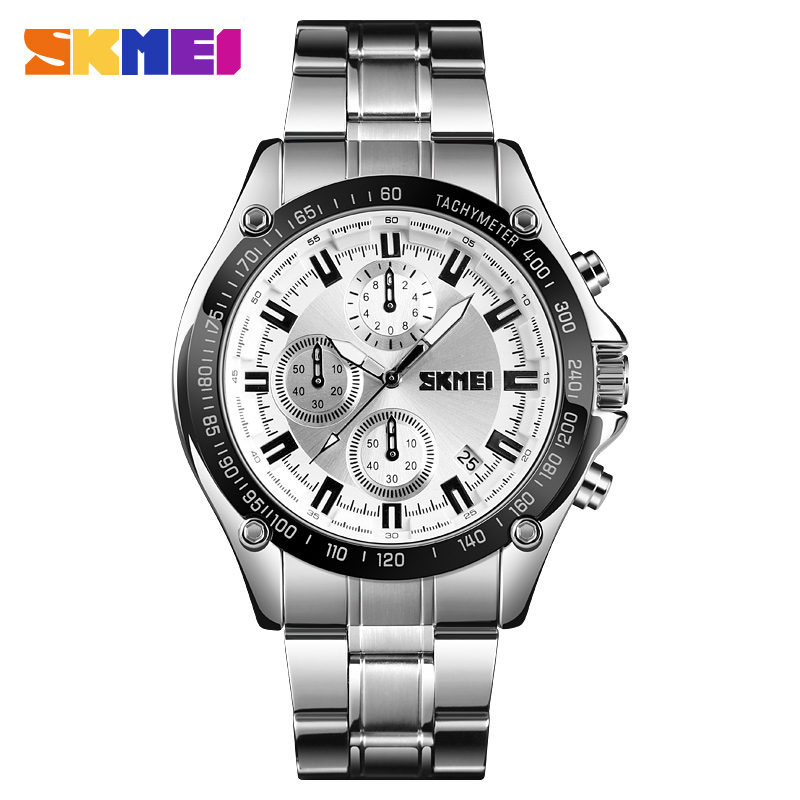 Fashion Quartz Watch Brand <font><b>SKMEI</b></font> Men's Wrist watches Luxury Stainless Steel Men Bracelet Date Chronograph Display Clock For Mens image