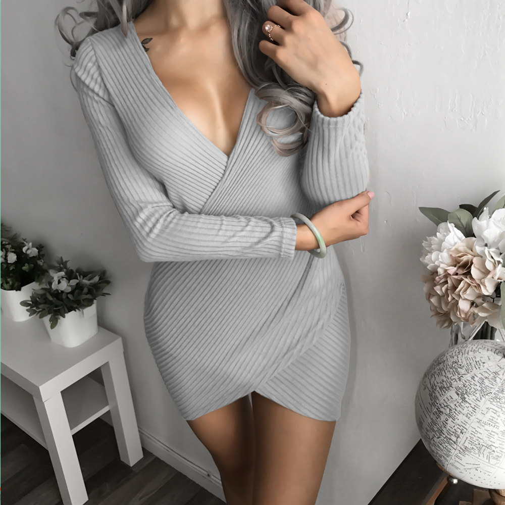 Causey Vetements 2018 Autumn Winter Womens Fashion Sexy Cross V-Neck Mini Dresses Female Long Sleeve Knitted Sweater Short Dress