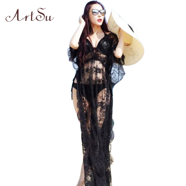 ArtSu Long Dresses Women Summer Casual Long Black Short Sleeve V neck Beach Wear Sexy Lace Dress Club Party DR5975