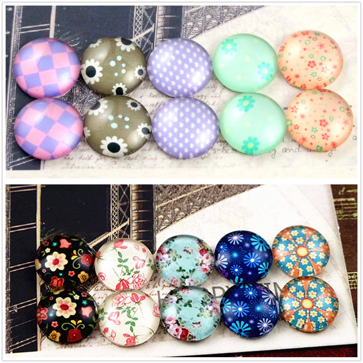 10pcs/lot (One Set) Two Style Fit 12mm Elegant Flower Handmade Glass Cabochons Pattern Domed Jewelry Accessories Supplie