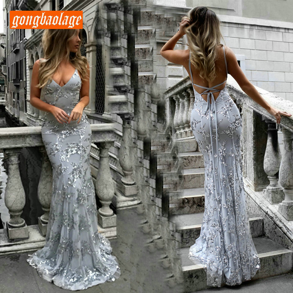 Sexy Silver Mermaid   Evening     Dresses   Long Formal   Dress   2019   Evening   Gowns For Women V-Neck Embroidery Lace Backless Finery Cheap