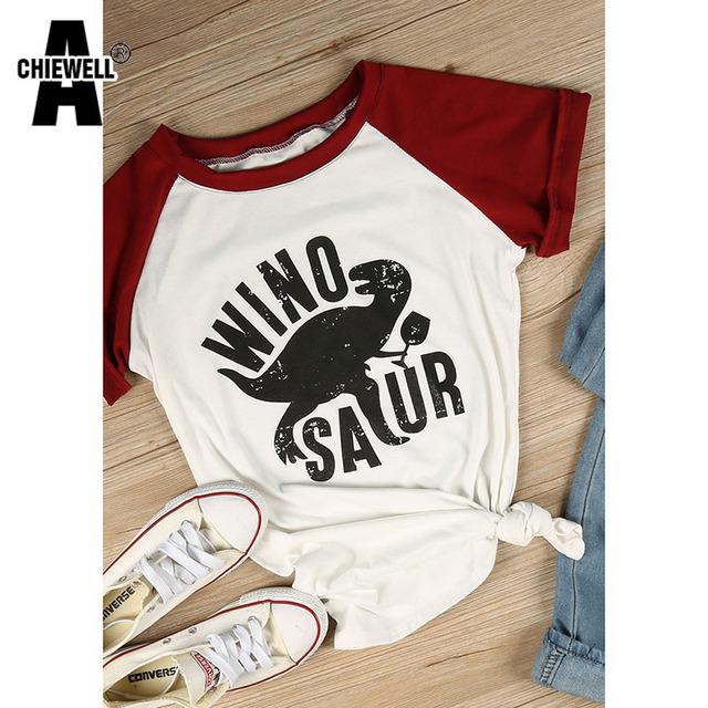 Achiewell Winosaur Dinosaur T Shirt Vintage Cartoon Patchwork Funny Woman TShirt Tops