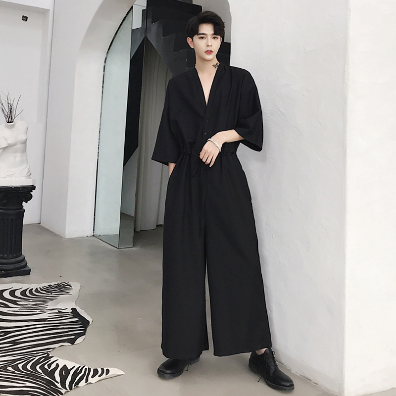 M-<font><b>5XL</b></font>! large size Summer new style deep V neck sexy temperament <font><b>catsuit</b></font> popular logo men's baggy wide leg 9 minutes pants image
