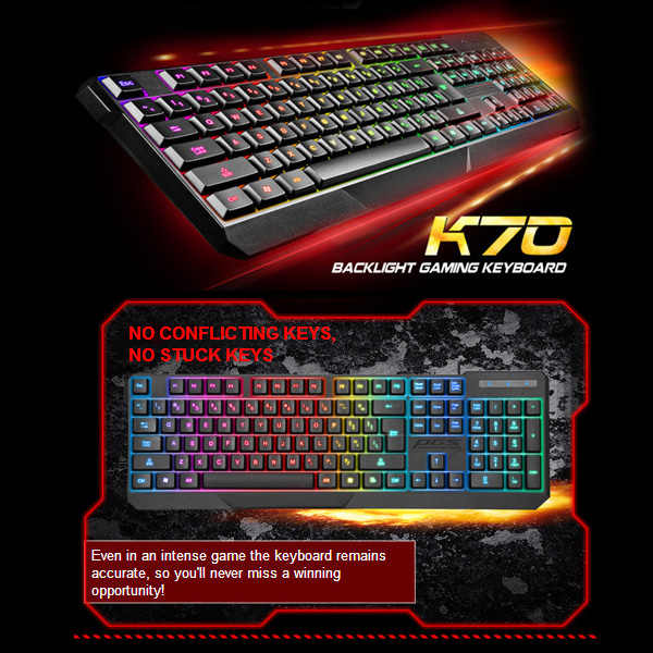 7 Warna Lampu Latar Warna-warni Keyboard USB Wired Gaming Keypad untuk Desktop Laptop Komputer UY8