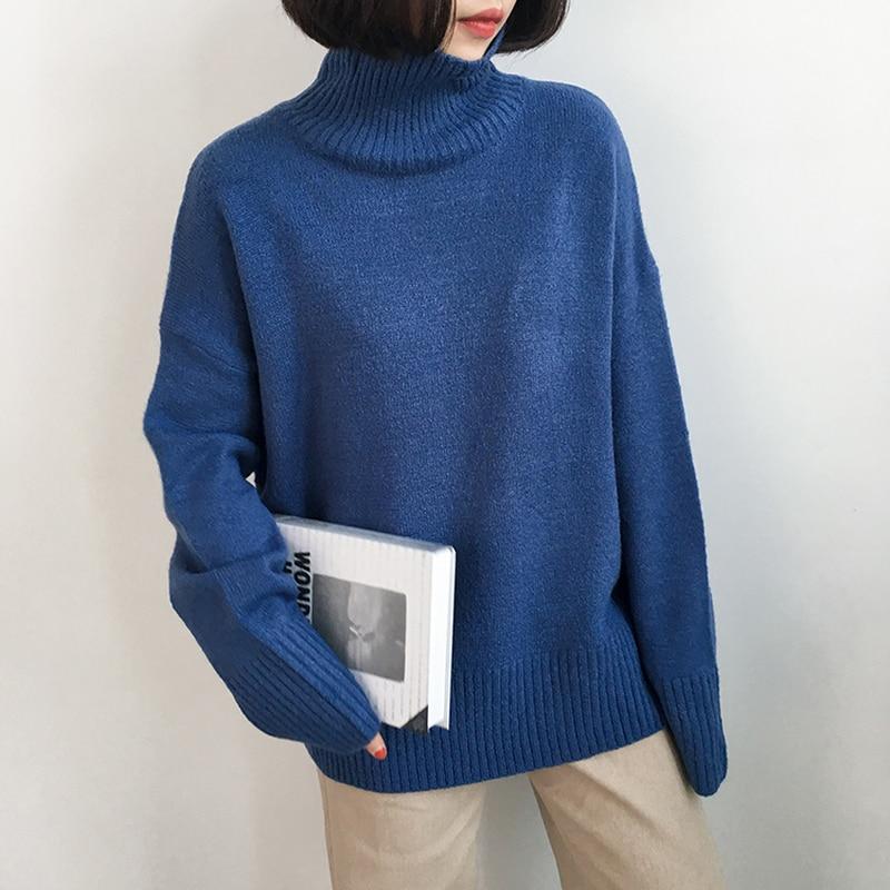 Cuello Punto De caramel Suéter Blue Mujer white Alto Jersey Pullover Manga Cálido gray Mujeres Top Grueso Larga Las Plus Suéteres Tamaño qAdwgg5