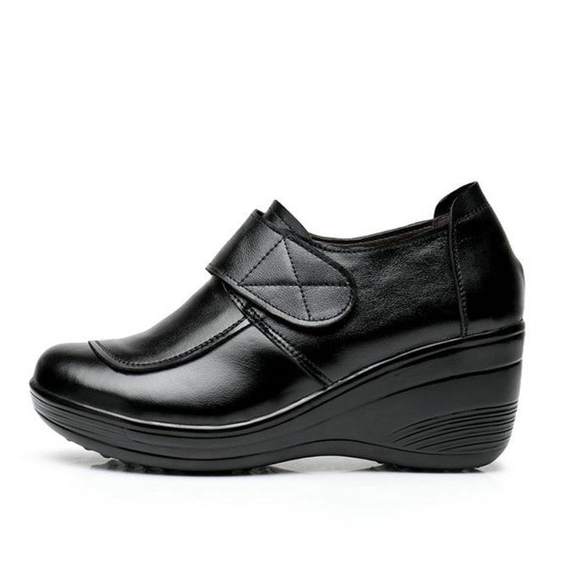 Bombas En Plataforma 2017 Aumento Tamaño Cuñas 40 Auténtico Black Mujer W Cuero Zk4 Zapatos Resbalón 35 0 Interno Oxford qYIqC