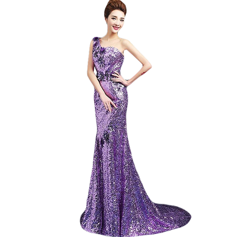 Dress   Sequin   Bridesmaid     Dresses   Mermaid Purple Sparkly   Dress   Wedding Party Long To The Floor One Shoulder Charming CK58