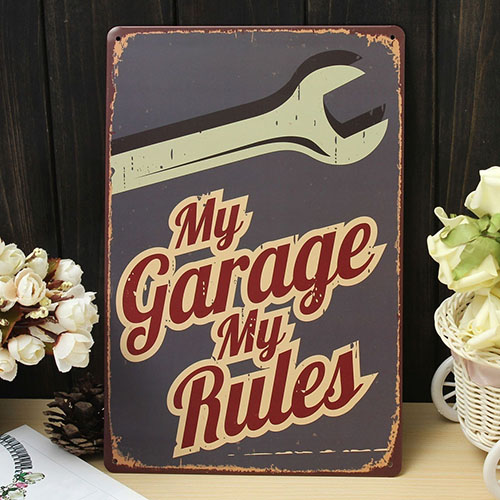Sign Garage Rule Metal Wall Art Decor Rustic Plaque Bar Cafe House Home Decor