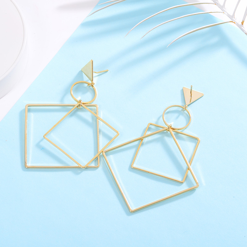 Drop Earrings for women Fashion Gold Color Earrings Square Round Geometric Brincos 2018 Female Jewelry Women Accessories in Drop Earrings from Jewelry Accessories