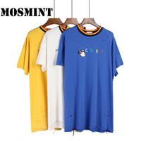 MOSMINT Sequins Mickey Character Patch Embroidery Letters Print T Shirts Women Autumn Big Plus Size Holes