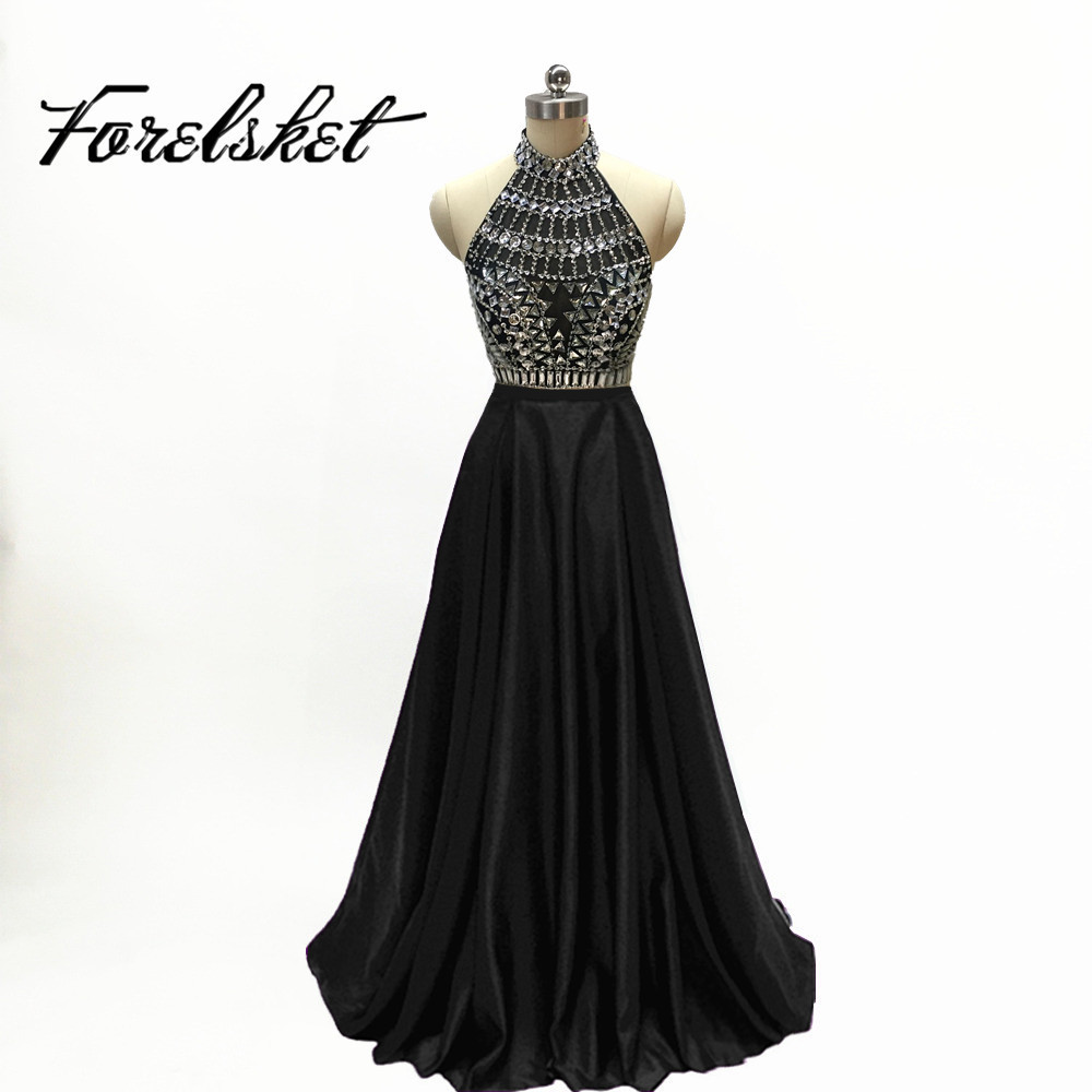 Black Sexy Long Mermaid Prom Dresses 2019 Halter Backless Floor Length Formal Evening Party Gowns Custom Made abendkleider