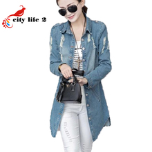 Women Denim Jacket With Holes Fall 2016 New Long-Sleeved Ladies Coat Long Windbreaker  Big Size 3XL Fashion Chaquetas Mujer