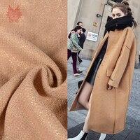 France Style Elegant Camel 100 Pure Wool Fabric For Coat Lurex Weaving Woolen Tissu Tecidos Stoffen