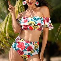 Ruffle Bikini 2018 Push Up Off Shoulder Biquinis Doubledeck Flouncing Bathing Suit High Waist Swimwear Women