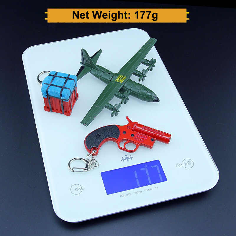 PUBG Signal Toy Gun Aircraft Airdrop Box Model Keychain Metal Alloy  Weapon Key Chain Crafts Three Pieces Suit Keyring Boy Gifts