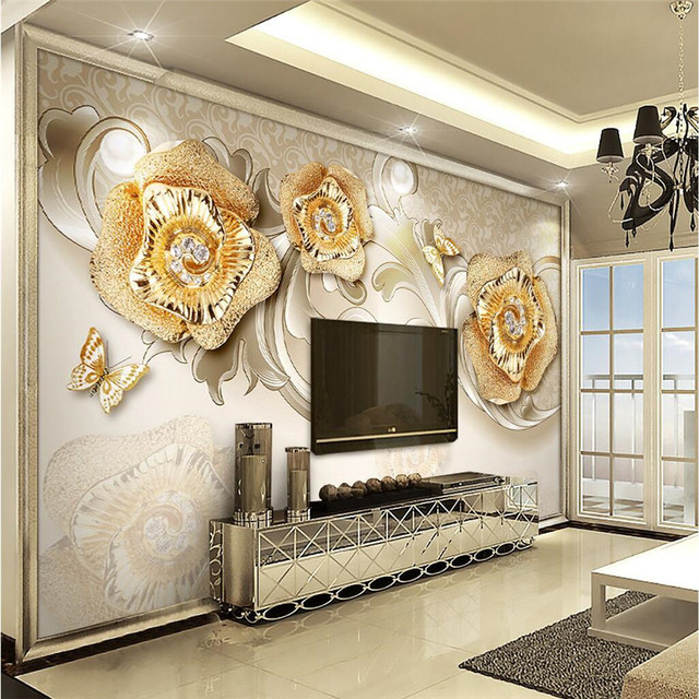 Beibehang Wallpaper Rose Gold Jewelry Butterfly Background Modern