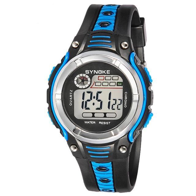 2017 Dignity SYNOKE Waterproof Children Boys Digital LED Sports Alarm Date Watch