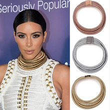 Ladyfirst Fashion Design Kim Kardashian Collar Chokers Necklace&Pendant Wedding Maxi Statement Necklace Bohemian Jewelry 4103