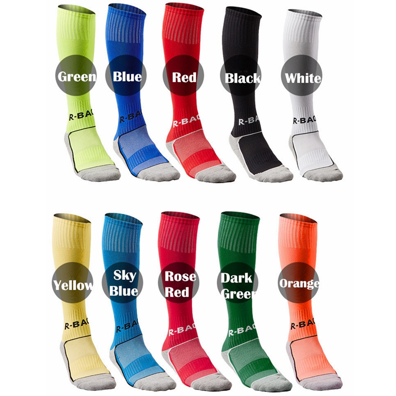 R-BAO 1 Pair Cotton Mens Kids Boys Sports Socks Durable Long Soccer Socks Football Breathable Anti-slip For 8-12 Years Old Child
