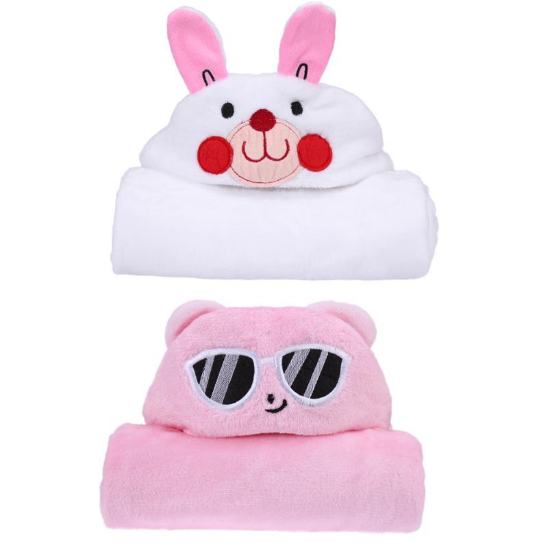 Newborn Baby Cute Soft Fleece Cartoon Animal Shape Soft Baby Blanket Farley Velvet Towels Warm Hooded Bath Cartoon Soft Towels