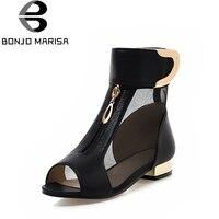 BONJOMARISA 2018 Summer New Elegant Brand Mesh Sandals Metal Decoration Peep Toe Shoes Woman Low Heels