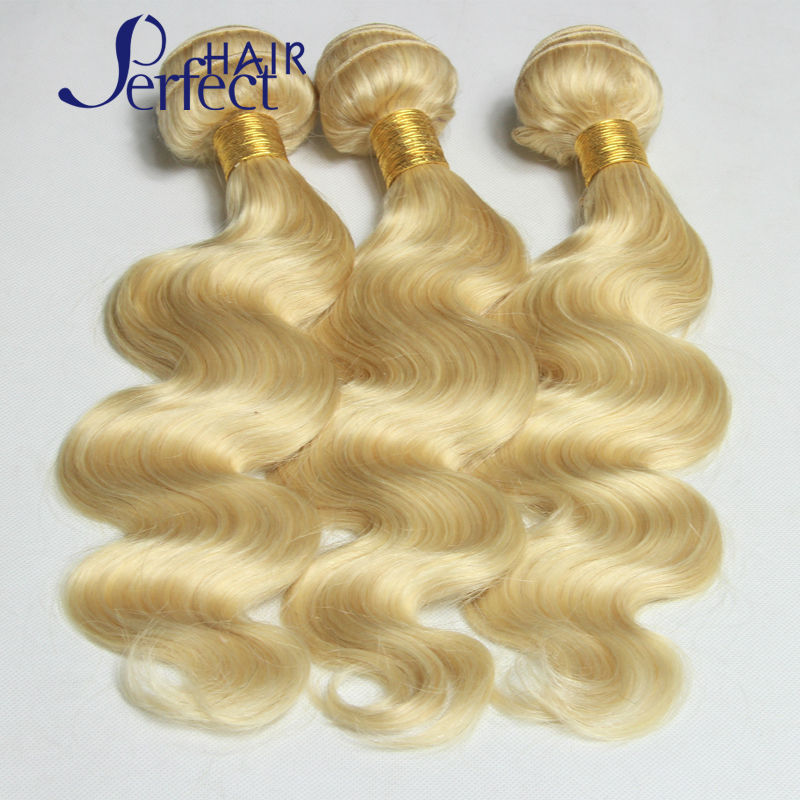 #613 Blonde Brazilian Hair 3Pcs Lot Human Virgin Hair Extensions 7A Brazilian Body Wave 10-30 Color 613 Blonde Virgin Hair