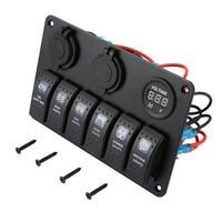 6 Gang Dual USB Waterproof RV Car Marine Boat Circuit Breaker LED Rocker Switch Panel Charger Cigarette Socket