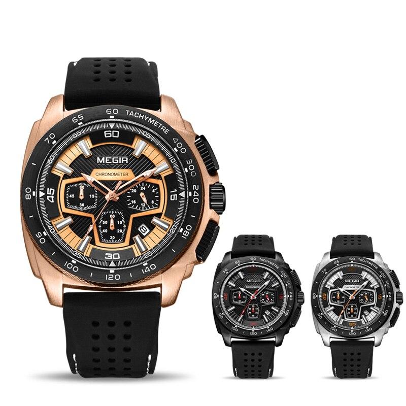 e03e33bfc8a MEGIR Chronograph Men Sport Watch Moda Silicone Relógios Militares Relogio  masculino relógio de Pulso Relógio de Quartzo Dos Homens Do Exército 2056  em ...