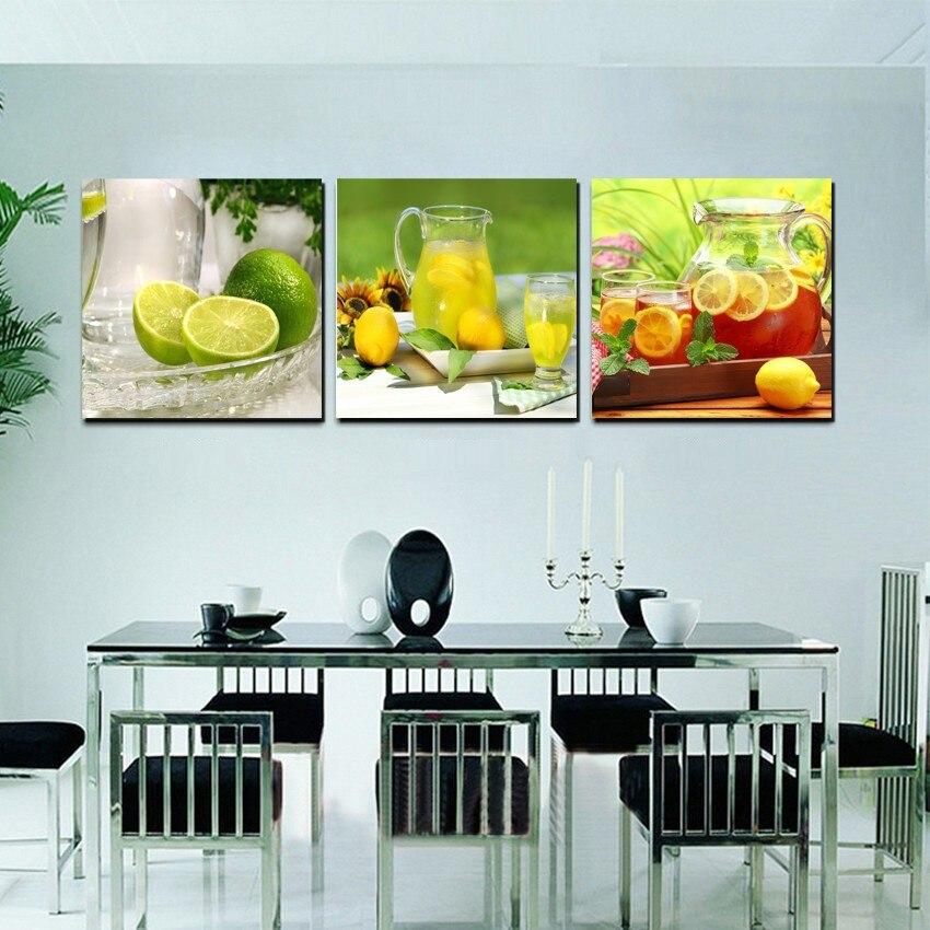 Inicio cocina decoración lienzo moderno pared pintura fruta limón té ...