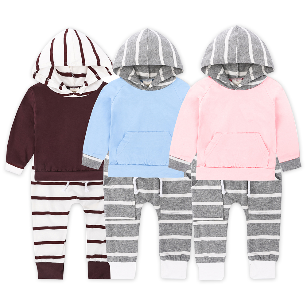 Childrens clothing spring autumn baby boys girl cloth child cotton stripe long sleeve set two pcs