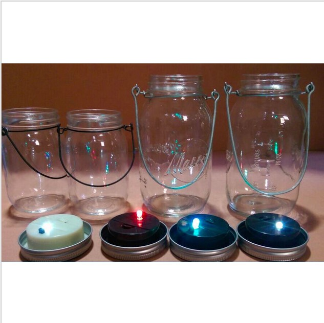 Exceptional Solar Lid Light Wholesale Part - 5: NEW Metal Led Lighted Mason Jar Unique Walkway Solar LED Lid Lights