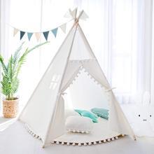 Простая белая парусиновая палатка для детей с 4 полюсами, детская палатка для игр в вигваме