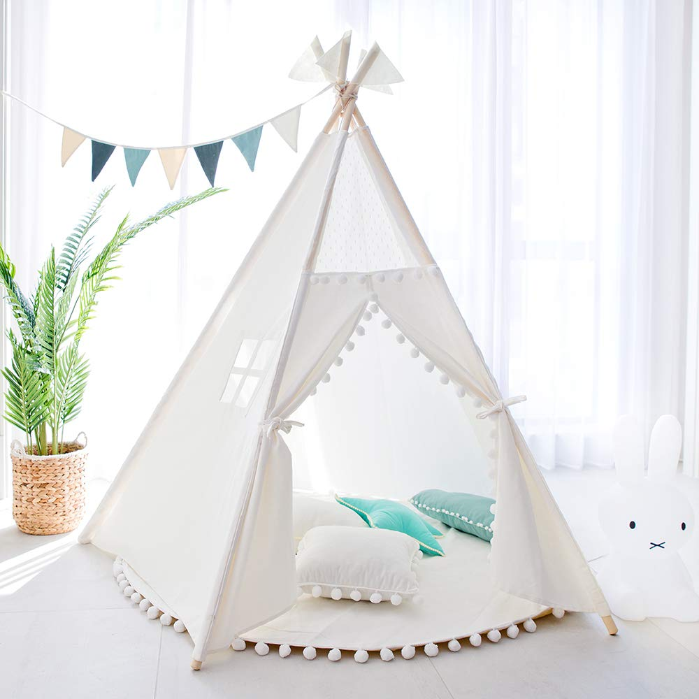 4-Pole Plain White Cotton Canvas Indoor Kids Play Teepee Tent Childrens Teepees Tipi Wigwam Playhouse Tee Pee Indian Tent