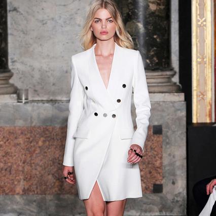 Новое прибытие взлетно-посадочной полосы женщины карьера длинные blazer белый женский кнопка Женщины пальто Осень