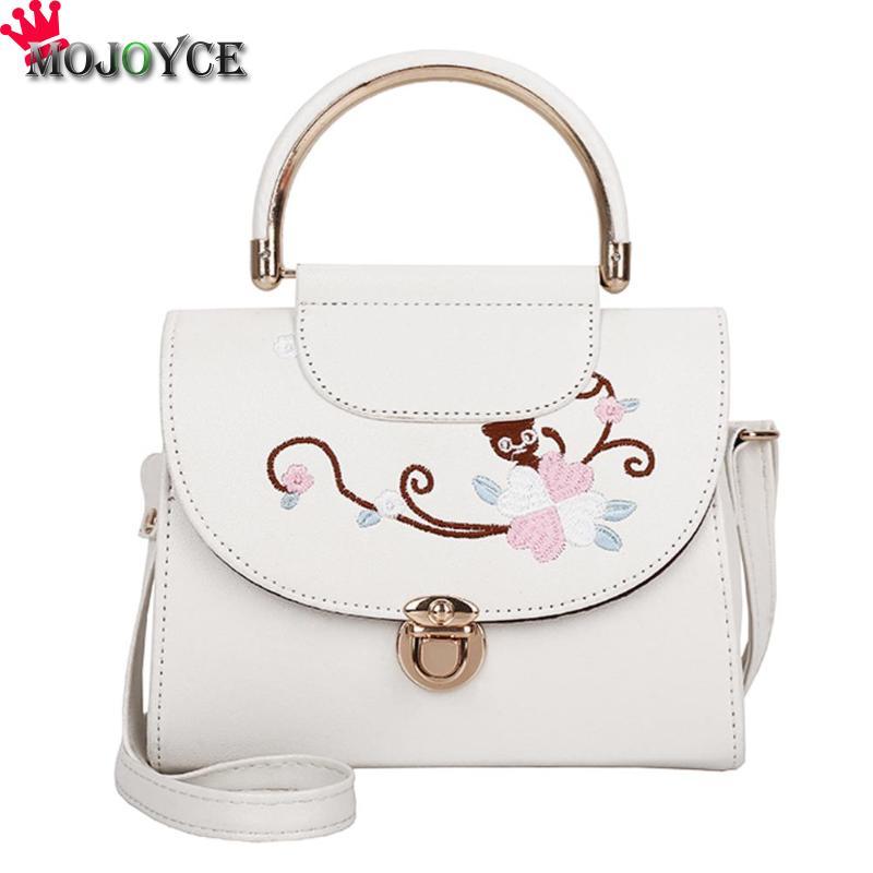 MOJOYCE font b Women b font Handbag Vintage Flowers PU Leather Embroidery Crossbody Handbag Girls Top