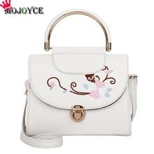 MOJOYCE Women Handbag Vintage Flowers PU Leather Embroidery Crossbody Handbag Girls Top-Handle Spring Sweet Lovely Small Bags