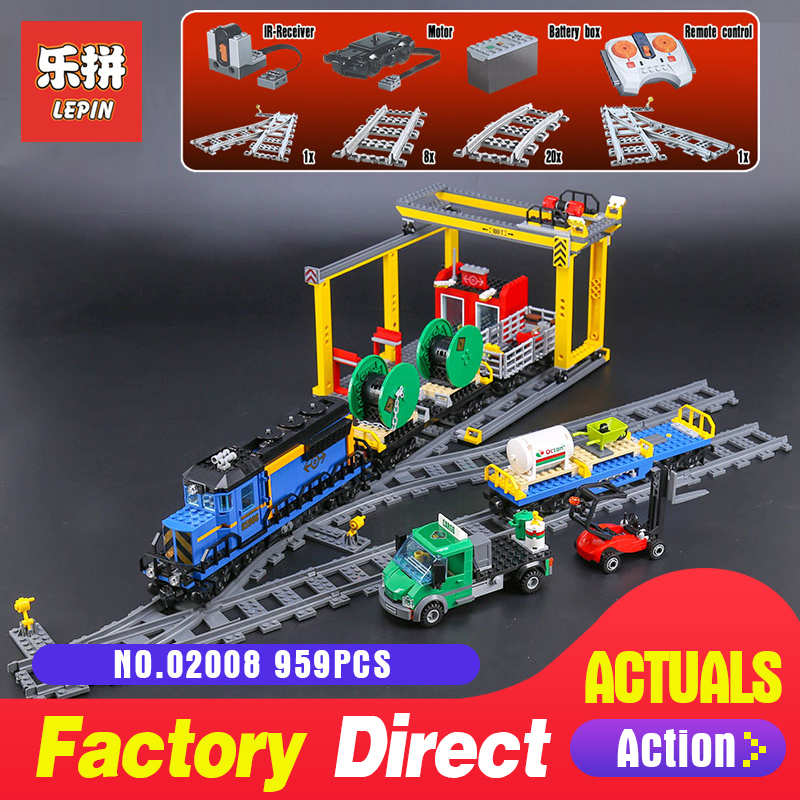 Lepin 02008 959Pcs City Series The Cargo Train Set LegoINGlys 60052 Model RC Building Blocks Bricks Toys for Children Gifts lepin 02008 959pcs city series the cargo train set legoinglys 60052 model rc building blocks bricks toys for children gifts