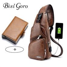 2019 Men's Chest Bag Retro PU Leather Single Shoulder Bag Aluminum Credit Card Holder RFID Wallet Travel Composite Bag