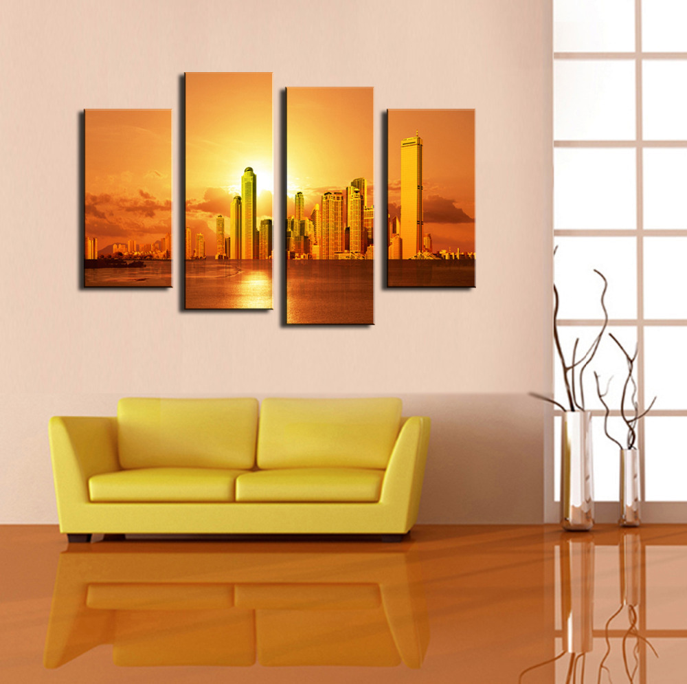 4 Panel Beautiful City With Sunset Large Picture Modern Home Wall ...