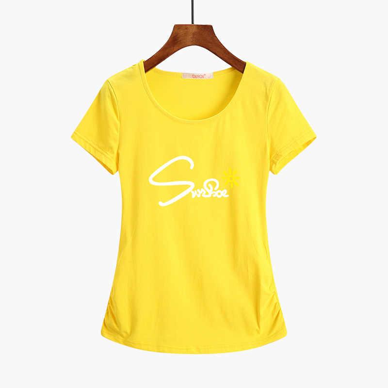 New 2020 Summer T Shirt 캐주얼 반소매 코튼 플러스 사이즈 탑 여성 의류 Camiseta Feminina Solid Regular