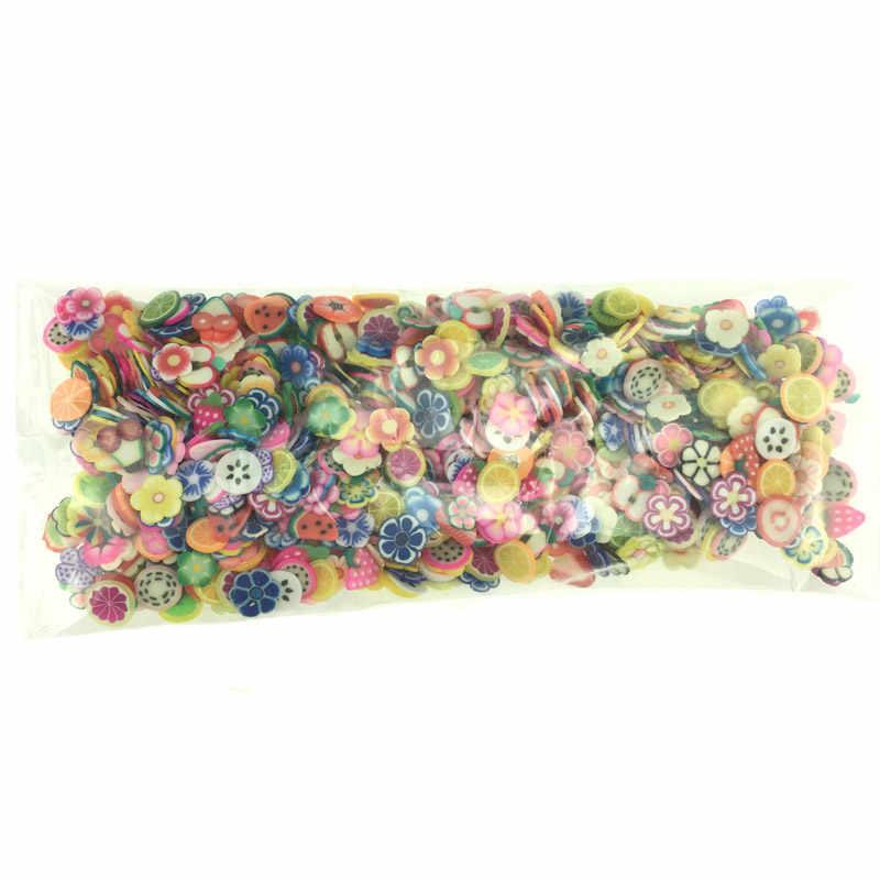 1000 шт./упак. DIY 3 мм 3D фруктовые цветы перо Дизайн Крошечные глиняные Ломтики Полимерная глина DIY игрушки для девочек наклейки Подарки для девочек