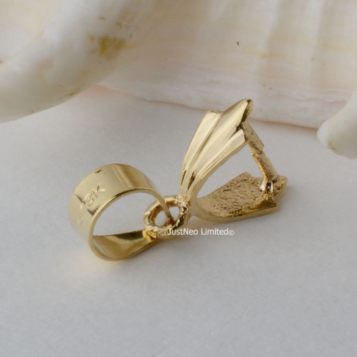 18karat yellow gold pinch bail pendant clasp connector,ice picker pendant catcher attaching to up 3.5mm necklace rope