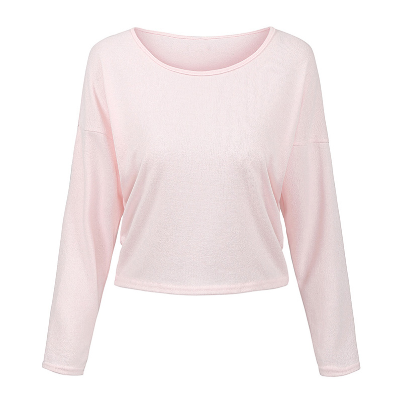 2019 Autumn Fashion Women Knitted Top Solid O Neck Long Sleeve Casual Loose Thin Jumper Pullover Knitwear Basic Tops For Female