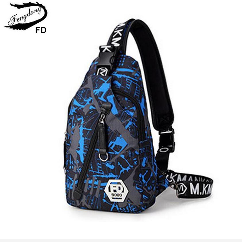 FengDong blue camouflage male Chest Bag waterproof oxford fabric one shoulder women travel bags Men casual Sling Crossbody Bag fengdong new casual male shoulder bag printing travel strap men chest pack sling crossbody bags for men