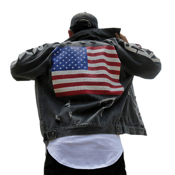 Autumn Tide Brand Men's Clothing Graffiti Denim Jacket American national flag Print Loose Outerwear Vintage Frayed Hole Coats