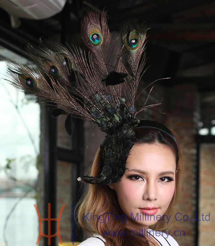Free Shipping Fashion  Women Feather Fascinator Hat Natural Peacock Feather Banquet Party Hat Clips Girl Flower Hair Accessories women s hats and fascinators vintage sinamay sagittate feather fascinator with headband tocados sombreros bodas free shipping