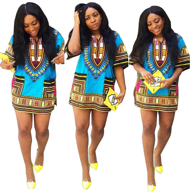 a9c140dd09 US $16.39 |2019 New Summer African Print Dashiki dress for women dresses  africa clothing traditional Ladies dress fashion designs-in Dresses from ...