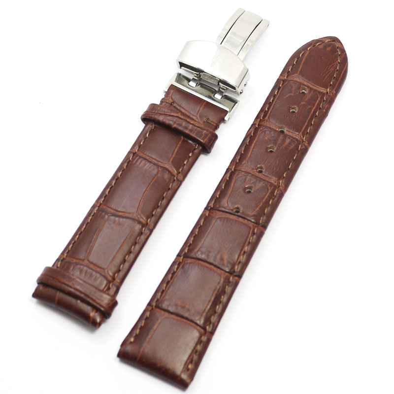 Brown Genuine Leather Watchband 18mm/20mm/22mm Deployant Watch Band Strap Buckle Bracelet Watchbands Strap For Hours watch band strap butterfly pattern genuine leather deployant buckle bracelet brown black watchbands 18 24mm