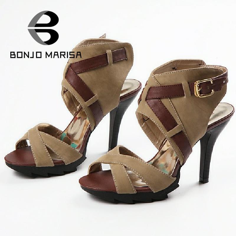 ФОТО BONJOMARISA Big Size 34-43 Big Sale Summer Gladiator High Heels Lady Sandals Women Glaidiator Sandals Skid-proof Evening Shoes